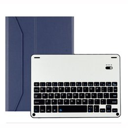 Wholesale Alloy Keyboard - 2018 Wireless Bluetooth 3.0 Mini Keyboard Rechargeable Aluminum Alloy Keypad PU Leather Stand Case for iPad Pro 10.5 inch