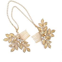 Wholesale Trendy Chain Headbands - 2017 Floral Charm Bridal Headpieces Pearl Gold Glinting Leaves Hair Comb Rhinestone Chain Handmade Wedding Headbands Bridal Accessories