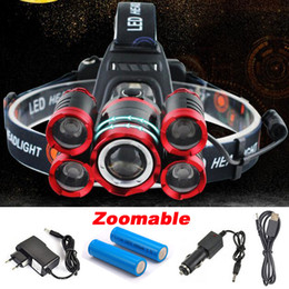 Lampe de poche en Ligne-5 * LED XML T6 phare 20000 lumens 4mode zoomable phare rechargeable lampe frontale lampe de poche + 2 * 18650 batterie + chargeur ca / cc