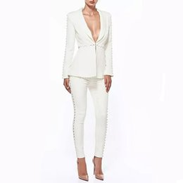 2019 бежевый рабочий жакет 2018 Autumn Formal White Jacket+Pants white Women Elegant Business Suits Single Button Blazer Female Office Trouser Pant Suits