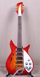 Hohle e-gitarre tremolo online-RIC John Fogerty 325 F-Loch Fire Glo Sunburst Semi-Hollow-E-Gitarre Short Scale Länge 527mm, Bigs Tremolo Saitenhalter, 3 Toaster-Tonabnehmer