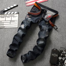 Wholesale trousers classical - Jeans Men 2018 New Fashion Korean Style High Street Holes Slim Fit Zipper Fly Personality Vintage Classical Denim Trousers Black