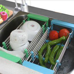 racks de vegetais Desconto New telescópico Kitchen Sink Cavalete Inserir bancada de armazenamento Organizer bandeja cesta de lavagem de aço inoxidável Frutas Legumes Drenagem cremalheira