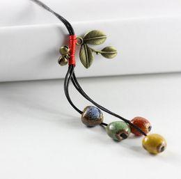 Wholesale Tibetan Steel Necklace - Tibetan Jewelry Original Ceramic Necklaces 2018 New Women Fashion Vintage Pendant Cotton Long beads Necklace bridesmaid gift