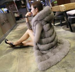 Wholesale black mink coats - Autumn And Winter Fashion Faux Fur Long Paragraph Large Hooded Vest Fox Fur Furry Fur Mink Coat Special Wholesale