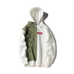 Wholesale couple winter pullover - Autumn winter men personality patchwork hoodies jackets hip hop streetwear women couple harajuku vinatge hoody sweatshirts