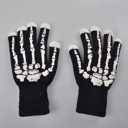 Wholesale Luminous Gloves - LED luminous skull gloves Christmas Halloween bar applicable props seven colors randomly change the light-emitting horror toy