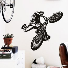 Wholesale Wall Decal Figures - Art Cheap Home Decoration Beautiful Figure Bicycle Wall Sticker Vinyl House Decor Sports Bike Decals In Gym Room Bar and Shop