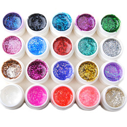 Wholesale Glitter Soak Off Gel Polish - 20pcs Colored Uv Gel Set Kit Nail Polishes Soak Off Glitter Uv Gel Nail Vanishes Shiny Nail Art Builder Gel Kit 3d Manicure Tool