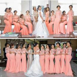 Vestidos elásticos top bridesmaids on-line-Coral Africano Árabe Vestidos Dama de Honra 2018 País Elastic Cetim Rendas Top Convidado Do Casamento Vestidos de 3/4 Mangas Compridas Vestidos de Madrinha de Honra