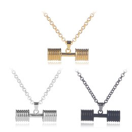 Wholesale Couples Fitness - Gold Pendants Necklace 2018 Fashion creative Personality Hipsters sport Fitness dumbbell Chain Necklace couples Hip hop Jewelry wholesale