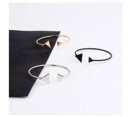 Wholesale metal hand cuffs - Shining Gold Silver Black Color Cuff Bangle For Women Metal e Channel Setting Fashion Hand Jewelry Pulseras Bijoux
