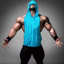 Wholesale Mens Sleeveless Hoodie Vest - Maoxzon Mens Loose Muscle Fitness Hoodies Tank Tops For Men Casual Bodybuilding Workout Hooded Sleeveless T-Shirts Gym Vests Tanks
