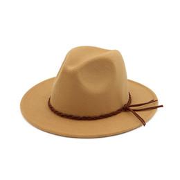 91c5a34658104b Autumn Winter British Style Wool Felt Fedora Jazz Hats with Woven Band Men  Women Flat Brim Panama Trilby Formal Hat