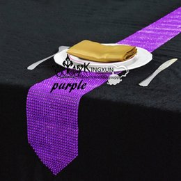 Wholesale Purple Table Runners Wholesale - Purple Color Diamond Buckle Table Runner \ Wedding Party Decoration Table Cloth Runner