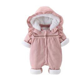 0c65c8b9819c6 MYUDI - Bébé fille super épais chaud Lotus Hooded hiver polaire coton  manteau barboteuse PP coton rembourré nouveau-né bébé filles Outwear