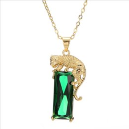 Wholesale leopard necklace gold - European and American Fashion Gold Leopard Pendant Necklace Women Influx of Bisque Green Crystal Sweater Necklace New Year Gifts