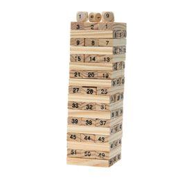 Domino 4pcs Dice Tower Blocchi di costruzione in legno 54pcs Stacker Extract Building Gioco educativo Gioco Tower da regali all'ingrosso di guerra mondiale fornitori