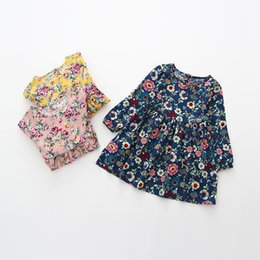 Wholesale Cheap Wholesale Baby Dresses - New 2018 princess Girls Dresses Flower Girl's Dress Floral Sweet Baby Dress Cheap Cotton Casual Soft Party Dress Navy Yelloww Pink A8153