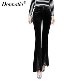 Wholesale Velvet Trousers Women - Donnalla Casual Flare Pants High Waist Fall Fashion Elastic Slim Velvet Pants Women 2017 Split Formal Slim Womens Trousers