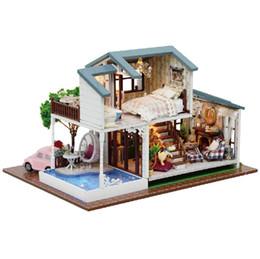 Mestieri di vacanza diy online-London Holiday Wooden Fai da te Handmake Craft Assembling Kit da costruzione Miniature Mobili da regalo per bambini Villa Dollhouse Toy