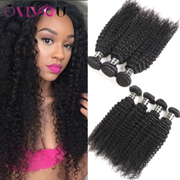 Styles de tissage de cheveux bouclés en Ligne-Styles de Mongolie Kinky Cheveux frisés 3 ou 4 Bundles Virgin cheveux humains non transformés Weave Bundles Kinky Curl doux Extensions cheveux Big Promotions