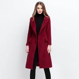 Moda estilo inglaterra mulheres autumnwinter casaco de cashmere em um longo casaco de lã double-faced de alta qualidade fino de lã de