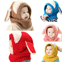 Wholesale kawaii winter hats - Cute Baby Rabbit Ears Knitted Hat Infant Toddler Winter Warm Hat Beanies Cap with Hooded Scarf Earflap Newborn Kids Kawaii