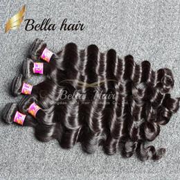 Tejido de pelo negro 22 24 online-Bella Hair® 4pcs / lot Extensiones de Cabello Brasileñas Sin Procesar 8A Cajas de Pelo Humano Loose Deep Wave Natural Color Negro Weave Weft