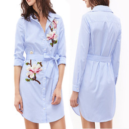 Wholesale embroidered night dresses - S-XL Fashion Women's Print Vertical Striped Long Sleeves Embroidered Floral Boho Casual Dress Spring Summer Dress Women A20
