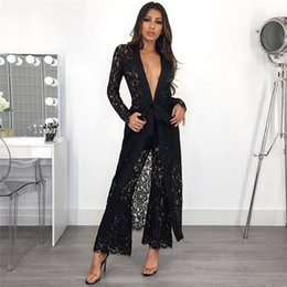dacf75e5bfa Fashion Black Lace 2 Piece Set Women Sheer Long Cardigan Trench Coat +  Flare Pants Suit Party Two Piece Matching Sets Outfits