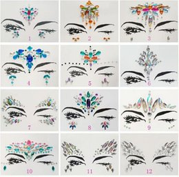 Wholesale face flashing - Adhesive Face Gems Rhinestone Temporary Tattoo Jewels Festival Party Body Glitter Stickers Flash Temporary Tattoos Sticker