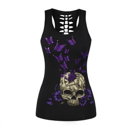 Wholesale Skull Back Top - New Women Female Top Camisole Tank Black Tops Gothic Rock Butterfly Skull 3D Printing Back Hollow Out Sleeveless T Shirts