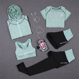 Wholesale Sportwear For Women - New Sports Yoga Suits for Women Quick Dry Gym Running Hoodie Sweatshirt+Bras+Pants Fitness Jogging Sportwear Clothing Suits 5pcs