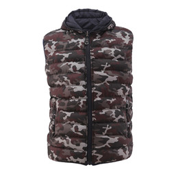 Wholesale Stylish Sleeveless Jackets - New Men's Vest Camouflage Winter Cotton Sleeveless Jackets Reversible Stylish Jacket Vest Warm Waterproof Down Coat