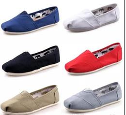 Toms planos online-Caliente a estrenar mujeres hombres zapatos de lona planos mocasines casual solo zapatillas ultraligeras Zapatos de conducción unisex tom alpargata Zapato de caminar