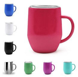 Wholesale Travel Mugs Handles - 9OZ Mugs Cups with Handle 304 Stainless Steel Thermos 8 Colors Keep Warm Cold Wine Glasses for Travel