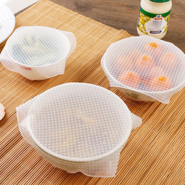 Wholesale silicone bowl covers - 4pcs set Newest Food Cling Film Silicone Wraps Bowl Cover And Food Stretch Lid Wraps Seal Vacuum Cover Lid Stretch Kitchen Tools WX9-249