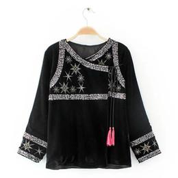 Wholesale Vintage Sequin Cardigan - Ethnic Spliced Sequins Embroidery Stars Tassels Velour Jacket Vintage New Woman Ribbons Loose Kimono Cardigan Coat