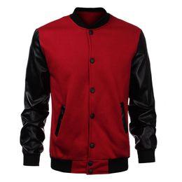 Sudadera del equipo universitario online-Venta al por mayor- 2016 Fashion Design Cool College Baseball Jacket Hombres Black PU Leather Sleeve Sweatshirt Hombres Slim Fit Varsity Bomber Jacket