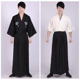 hombres de kimono tradicional Rebajas 3 Unidades de Conjunto Kimonos Japoneses Ropa Tradicional Samurai Cosplay Traje Hombres Vintage Kimono Largo Estilo de Verano de Algodón Yukata