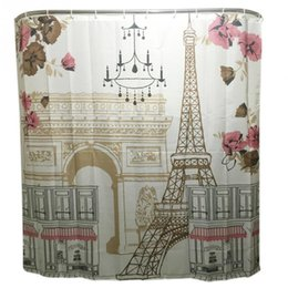 Wholesale Traditional Bathroom Showers - Comic Tower Family Bathroom Shower Curtain Simple Polyester Ring Pull Easy To Install