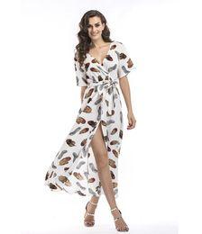 Wholesale Yellow Casual Backless Dress - Summer Maxi Dress Women Floral Print Dress V-Neck Short Sleeve Spaghetti Strap Backless Side Split Sexy Long Dress
