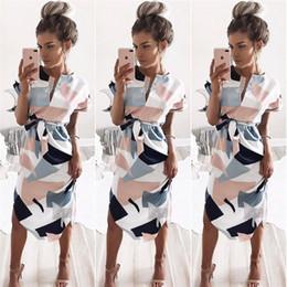 Wholesale dresses empire waist short - women's summer midi dresses Evening Party dress beach sundress short sleeve tie waist Hot Sales JC010