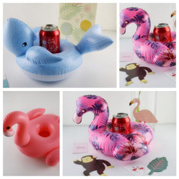 Wholesale Pool Can - 3 Styles Flamingo Cup Holders Whale Floating Inflatable Drink Can Cell Phone Holder Stand Pool Toys Event Party Supplies CCA9656 100pcs