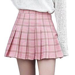 Wholesale girl school skirt xl - Women Girls Plaid Skirt High Waist Pleated Skater Skirt A-line School Uniform With Inner Shorts Casual