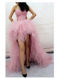 2018 Luxe tulle robe de bal sweetheart rose élégante robes de soirée sexy Hi-Lo élégante robe de soirée formelle pour les filles ? partir de fabricateur