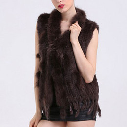 Wholesale Womens Brown Winter Jacket - Faroonee New Womens Rabbit Faux Fur Vest with Raccoon Fur Collar Sleeveless Winter Soft Waistcoat Hairy Jacket Coat DQ2952