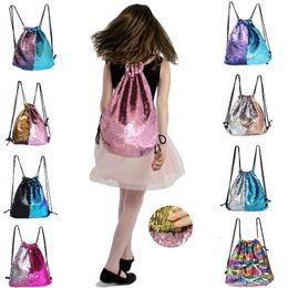 Wholesale Lunch Bag Backpack - 2018 Reversible Mermaid Backpack School Bags Lunch ladies Travel shoulder bag Pink bookbags 9 colors Option