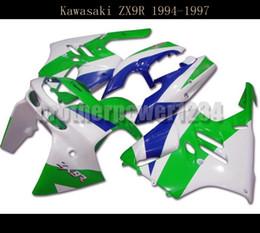 Wholesale Ninja Fairing Zx9r - ABS Bodywork Green Blue white Covers Full Fairings for Kawasaki Ninja ZX9R 1994 95 96 1997